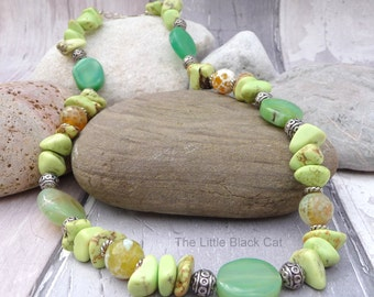 Green Agate Necklace, Lime Necklace, Green Jewellery, Gemstone Necklace, Gemstone Jewellery, Womens Gift, Ladies Present, Gift For Her, UK