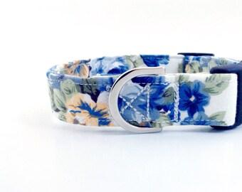 Blue Floral Dog Collar | Dog Collar | Puppy Collar | Girl Dog Collar | Floral Dog Collar | Small Dog Collar | Large Dog Collar|Fabric collar