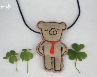 Pendant necklace animal cloth adjustable teddy bear