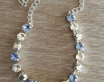 8MM Swarovski Light Sapphire, Crystal and Crystal Cal Necklace