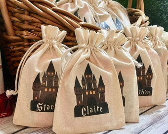 Personalized Harry Potter Hogwarts School of Witchcraft and Wizardry Castle Goodie Bag - Party Favor Drawstring Bag Cotton Pouch.