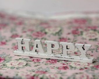 Miniature wood letters for doll Happy
