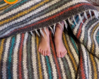 Wool Blanket Throw, Wool Rug, Woven Rug, Wool Coach Cover, Sofa Cover, Bed Spread, Striped Coverlet, Carpet Rug, Kids Room Rug,Bedroom Decor