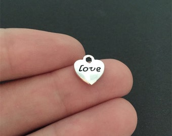 BULK 50 Love Heart Charms Pendant Bracelet Earrings Zipper Pulls Keychains (YT8005)