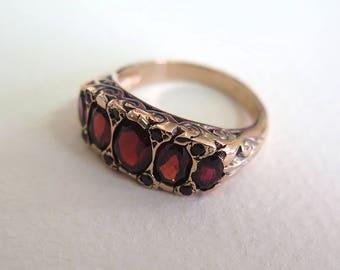 Solid Gold Garnet Ring -  14K Vintage Garnet ring - Vintage Ring - Garnet Vintage Ring - Vintage Gold Ring - Rose Gold Ring - 14k Rose Gold