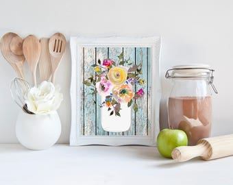 Farmhouse Printable, printable, mason jar, mason jar decor, aqua home decor, wall art, wall decor, kitchen decor, kitchen wall decor, prints