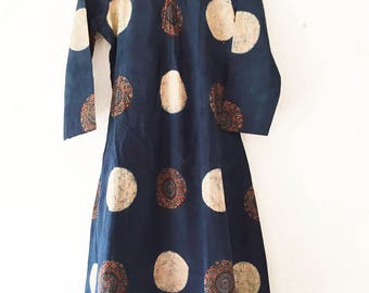 Ajrakh Indigo Cotton Midi Dress