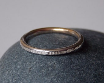 Silver fine and modern hammered ring for women