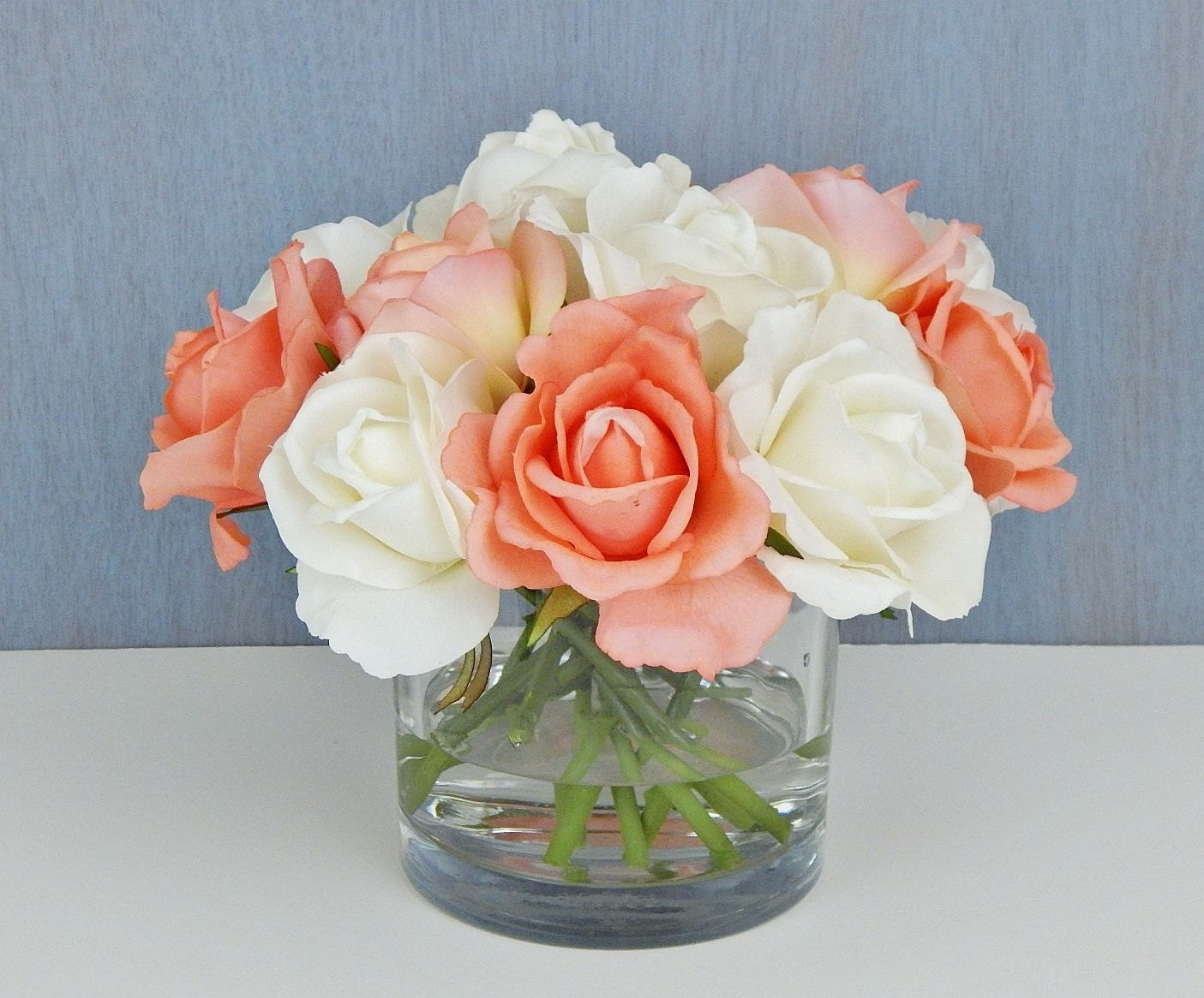 White coral orange roseroses faux water acrylicillusion white coral orange roseroses faux water acrylicillusion silk real touch flowers floral arrangement centerpiece gift glass vase reviewsmspy