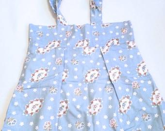 Casual Tote Bag, Blue Floral Print, Shopper, Market Bag, Utility Tote, School Tote, Minimalist