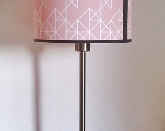 "Pastel pink cylindrical lampshade, geometrical pattern. 20x15cm (approx 8""x6"")."