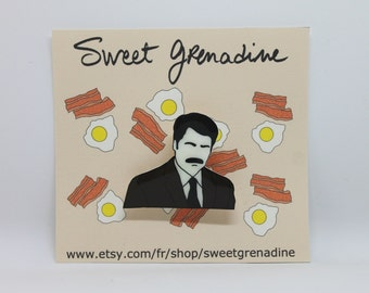"""Parks and Rec """"RON SWANSON"""" Shrink Plastic Brooch"""