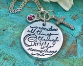 I can do all things through Christ who strengthens me Meaningful Necklace,  Philippians 4:13 Religious memento, Unique gift for her