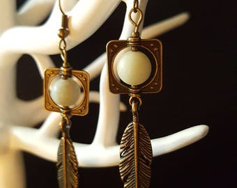 Earrings Green & Bronze Art Nouveau Feathers - natural amazonite beads - bronze earrings - Bohemian - nature