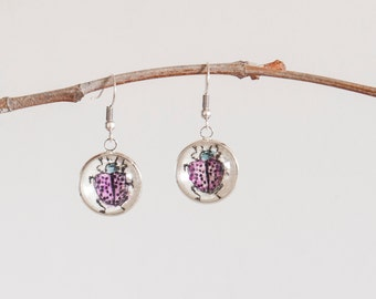 Earrings with beetles - Original Etchings watercolored - Earrings with insects - Unique handmade jewelry - Fashion accessories