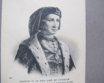 Charles VI of France postcard / Charles VI the Beloved and the Mad / Carte Postale / French King Etching postcard / ND Phot