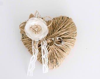 Jute twine Ring bearer pillow alternative Wooden Wedding Forest Ring Pillow Ring Bearer Ring Bearer Rustic Wedding
