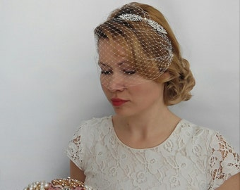 Birdcage Veil Headband, Blusher Birdcage Veil, Wedding Veil Bridal Veil with Rhinestone Headband Bridal Veil and Headpiece Art Deco Headband