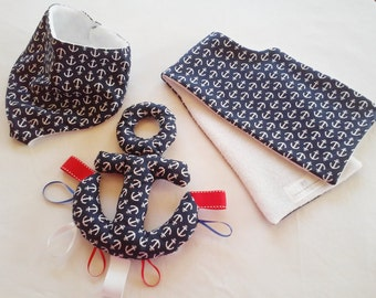 Anchor handkerchief Bib/soothie pacifier bib/pacifier bib/taggie toy/ burpcloth