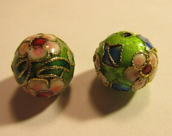 Chinese Cloisonne Green Floral Beads, 12mm, Set of 2