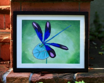 Blue Dragonfly — Original Painting — Fine Art Print