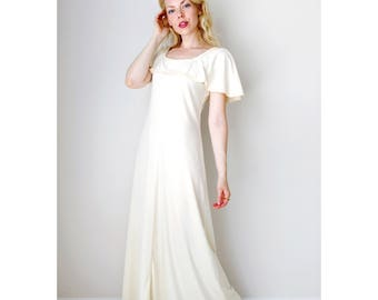 Vintage ivory dress | cream boho ruffle top maxi dress 70s dress engagement dress bridal shower dress summer dress | size small to medium