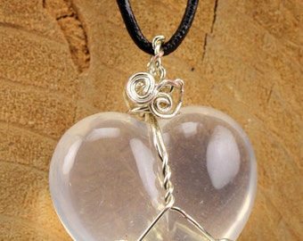 Quartz (Transparent) Heart Silver Wire Wrapped Pendant, Transparent, Natural Stone, Crown Chakra