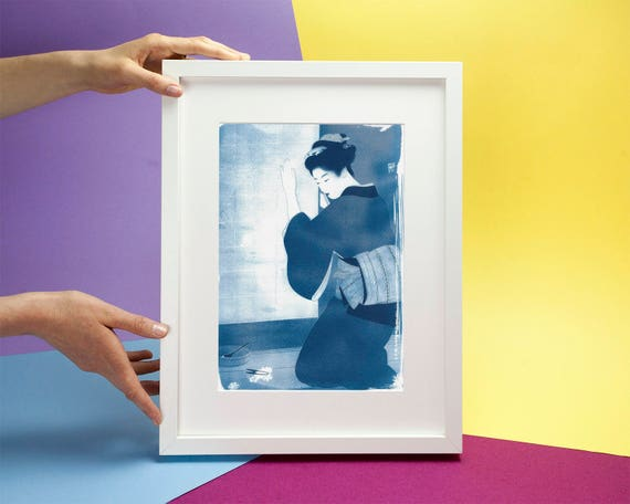 Japanese Geisha Cutting Flowers, Cyanotype Print on Watercolor Paper, A4 size (Limited Edition)