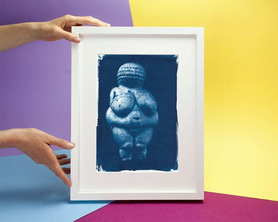 Venus of Willendorf Pre-historic Relic, Cyanotype Art Print on Watercolor Paper, A4 size, Maternity Shoot, Venus Symbol (Limited Edition)