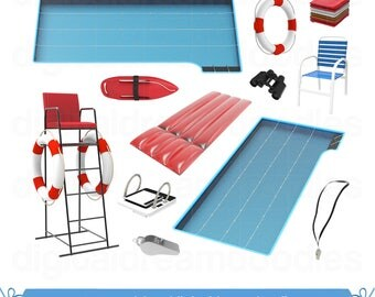 Swimming Pool Clipart, Pool Clip Art, Lifeguard Graphic, Indoor Swimming Image, Life Buoy PNG, Olympic Platform Scrapbook, Digital Download
