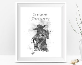 Yoda Black and White Star Wars Watercolor Art Print Master Yoda Quote Jedi Star Wars Art Yoda Wall Art Star Wars Digital Download