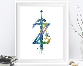 Legend of Zelda Breath of the Wild Print Nintendo Video Game Abstract Watercolor Zelda Sword Art Link Painting Wall Art Digital Download