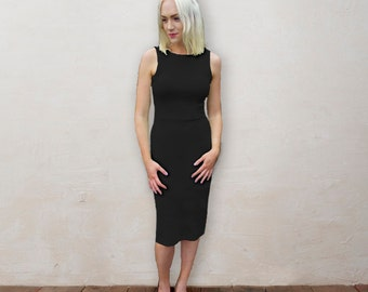 SALE Marilyn Classical Elegant Little Black Dress. Black Bodycon Party Dress, Going Out Dress, Christmas, with High Front Neck & Scoop Back