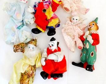Lot of porcelain harlequin dolls clown dolls collectible vintage harlequin dolls LOT of 7