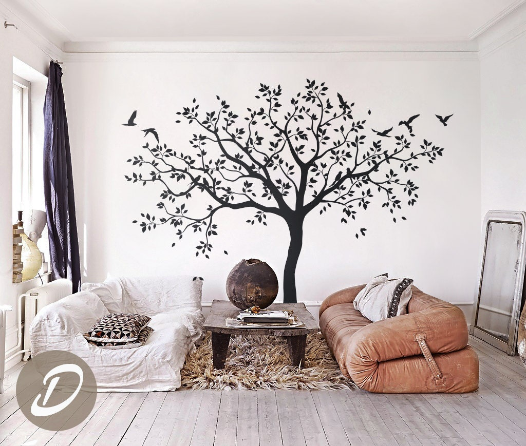 grand arbre stickers arbres sticker p pini re arbre mural. Black Bedroom Furniture Sets. Home Design Ideas