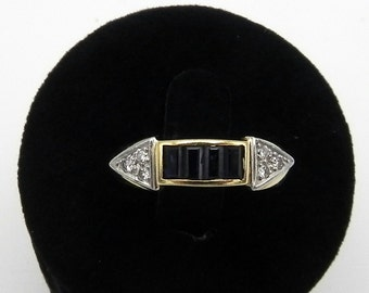 Antique Ring 18k Gold Sapphire Diamonds ring 18k gold Sapphire diamond