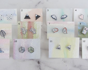 Studs / earrings with hand-drawn geometric patterns/watercolor/square/triangle/Ahoy/cloud/heart/Hexagon/paper boat/Cactus / handmade