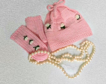 PINK KNITTED HAT and Crochet Mittens For Little Girl Embellished With Embroidered Flowers