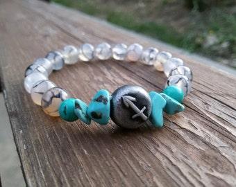 Sagittarius bracelet Custom Zodiac bracelet Protective December Birthstone Sagittarius gift Astrology bracelet Turquoise Agate Boho bracelet