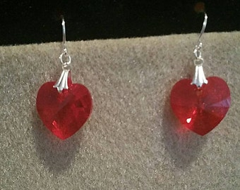 0167-Diamond Cut Red Swarovski 18mm Heart Earrings
