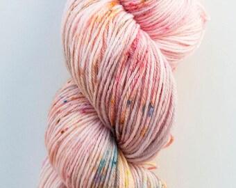 hand dyed yarn,  speckled yarn, pastel yarn, 50/50% suri alpaca/merino