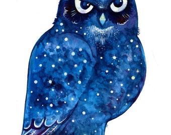 Owl Watercolor Print Owl Wall Nursery Art Bird Print Nursery Owl Artwork Owl Poster  Bird Owl Print Nursery Owl Art
