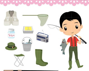 Collection Fishing Day Clipart, Boy fisherman, hooks box, worm fishing, PNG graphics for planner stickers, scrapbooking. Commercial use OK.