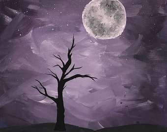 Monochromatic Purple Tree Silhouette