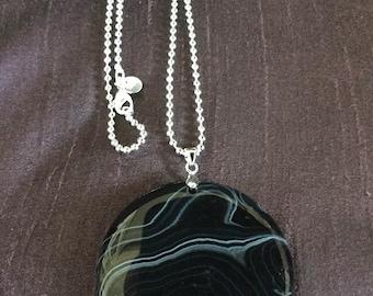 Banded Black Agate Pendant