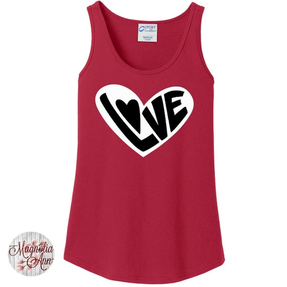 2 Tone Love Heart, Valentines Day, Women's Tank Top in 6 colors in Sizes Small-4X, Plus Size