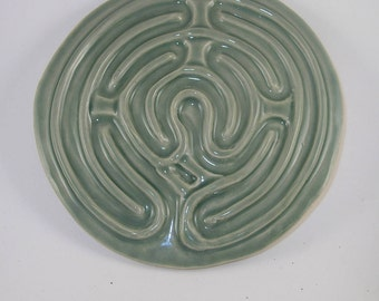 "Petite Chartres finger labyrinth, misty green, 8"" diameter.  PC022017"