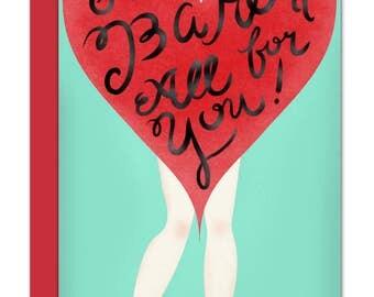 Cheeky Pinup Girl Long 4 x 9 Love Greeting Card, Wedding Card, Anniversary Card, Engagement Card