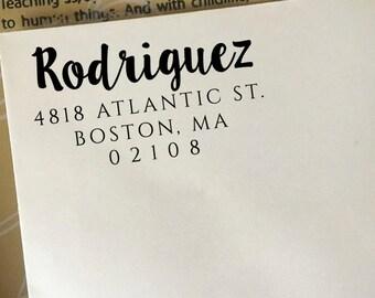 Return Address Stamp, Custom Address Stamp, Self-Inking Stamp, Wooden Stamp, Rubber Stamp, Modern Wedding Stamp, Family Last Name Stamp