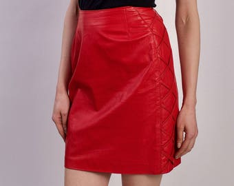Vintage 1970s Leather Skirt